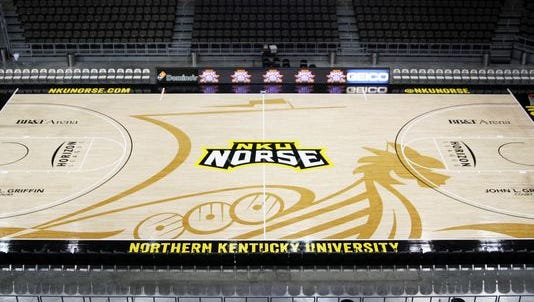 Northern Kentucky University's new court design, which the university unveiled Wednesday.