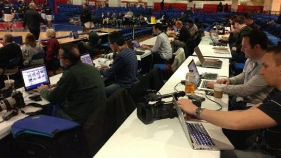 A view of press row at the Westchester County Center during the Section 1 basketball tournament.