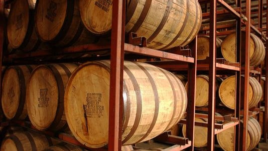 Barrels of whiskey at Brown Forman