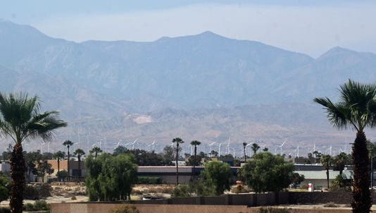 Smoke from the Summit Fire is visible from Palm Springs Aug. 24, 2015.
