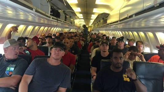Florida Forest Service firefighters fly to California on Aug. 3 to help battle that state's wildfires. More FFS firefighters are heading to Montana next week to help beat back wildfires.