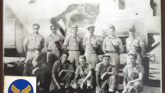 James Bertel of Sewell traveled to New Guinea in July to search for the plane and grave sites of the crew of the Photo Queen. The crew, pictured, include his uncle Sgt. James R. Reynolds of Gibbstown, in the middle of the bottom row. Sgt. Herbert G. Julian of North Jersey is second from the left in the top row left.