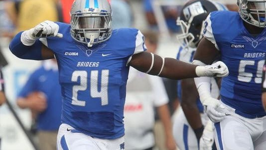 Cavellis Luckett (24) and the rest of the MTSU defense has the tall task of stopping Alabama's run game.