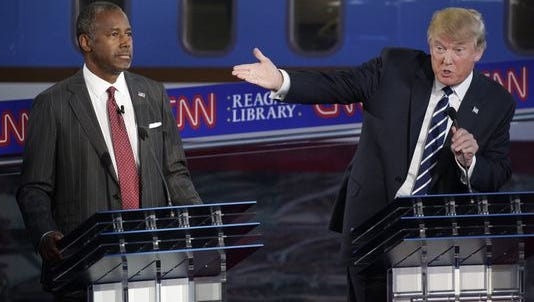 Donald Trump and Ben Carson participate in the second presidential debate at the Ronald Reagan Presidential Library in Simi Valley, Calif., on Sept. 16, 2015.