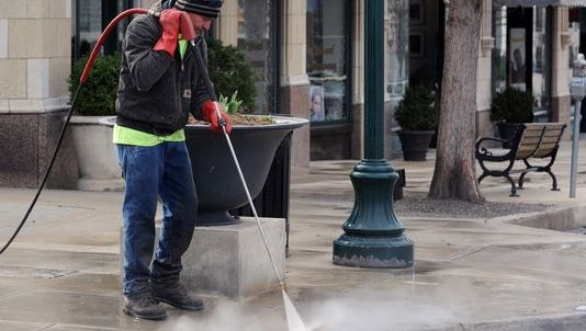 Asheville started commercial steam cleaning of its sidewalks early last year.