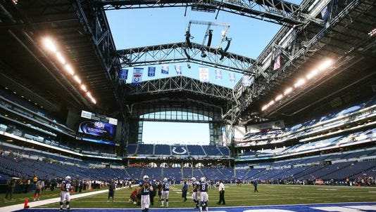 Lucas Oil Stadium with an open roof.