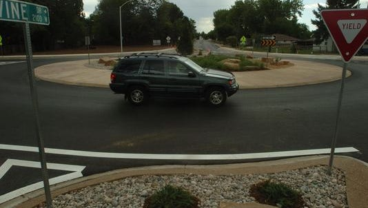 The city is building a roundabout at the intersection of Vine Drive and Shields Street. The roundabout seen here is at Vine and Taft Hill Road.