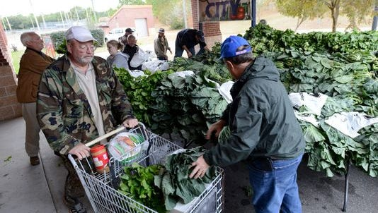 Volunteers loads fresh collard greens into a cart during a food distribution as part of Farm to City for those in need.