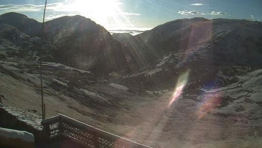 The Rocky Mountain National Park Service tweeted a picture of snow at the Alpine Visitor Center.