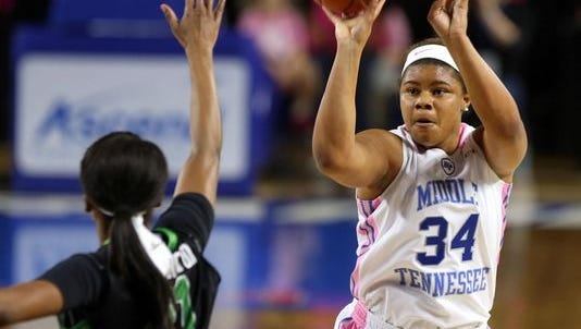 Olivia Jones (34) was selected as C-USA's preseason player of the year.