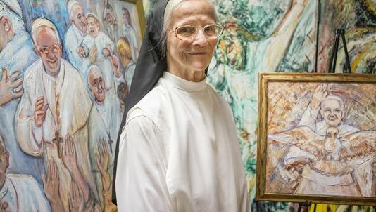 A prolific artist, Sister Mary Grace Thul painted two portraits of Pope Francis.