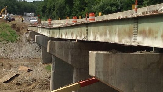 The bridge over Wildcat Creek in the northbound lanes of Interstate 65 in Tippecanoe County is shown on Aug. 5.