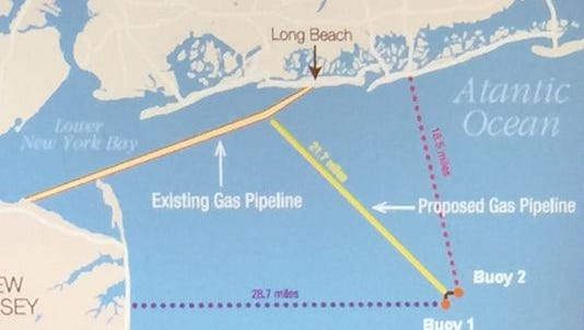 The proposed location of a deepwater gas port.