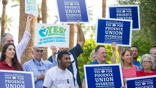 Phoenix residents rally for bond and override election.