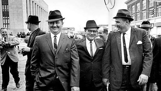 Edgar Ray Killen, center, jokes with Neshoba County Deputy Cecil Price and Sheriff Lawrence Rainey outside the 1967 conspiracy trial in U.S. District Court in Meridian, Mississippi. A jury convicted Price and six others. Rest of the 18 walked free.