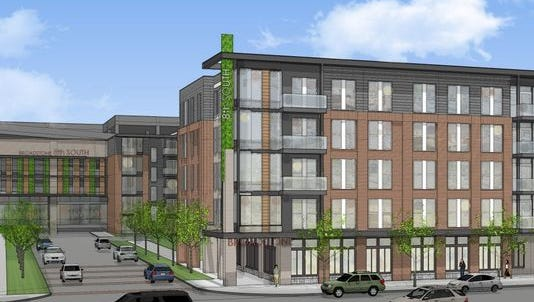 A rendering of the Broadstone 8th South apartment building Alliance Residential plans on a portion of the former Colonial Bakery site in the Melrose area.