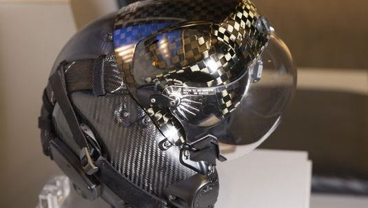 The F-35 helmet mounted display system at is displayed Sept. 3 at Lockheed Martin's offices in Arlington, Virginia.