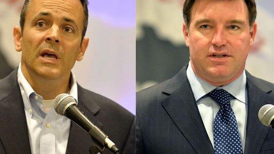 Republican Matt Bevin (left) and Democrat Jack Conway (right) vie for Kentucky governor Nov. 3