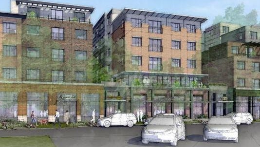 This rendering shows the planned Uncommon apartment complex planned at the former Perkins site on the southeast corner of College Avenue and Olive Street in Old Town Fort Coll
