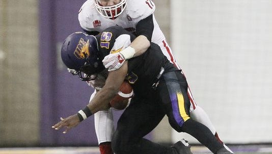 Andrew Van Ginkel  (17) had two sacks on Saturday and now has eight sacks for the season, good for sixth in the nation.