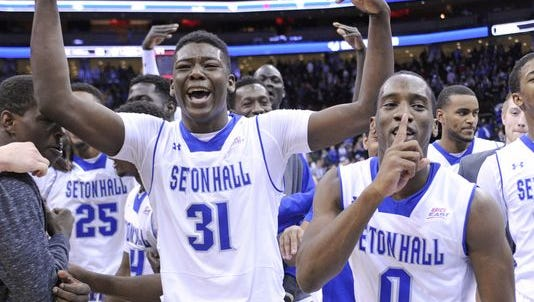 Seton Hall's Angel Delgado (left) and Khadeen Carrington.