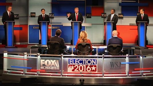 Republican candidates for President, including, from left, Jeb Bush, Marco Rubio, Donald Trump and Ben Carson, participate in Tuesday's debate.