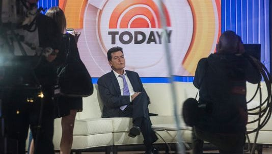 Charlie Sheen waits on the set of 'Today' before formally announcing that he is HIV positive in an interview with Matt Lauer Tuesday.