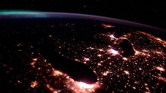A view of the Great Lakes aboard the International Space Station.