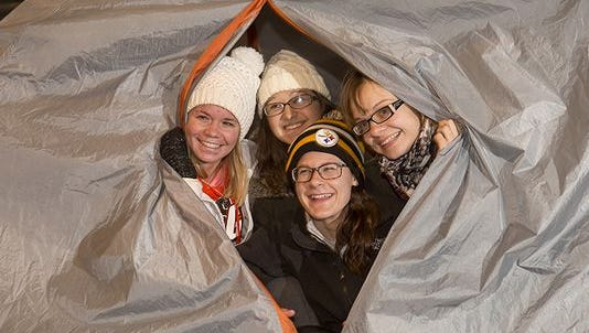 Ball State University students wait overnight to pick up free tickets to see David Letterman's Nov. 30 return to campus.