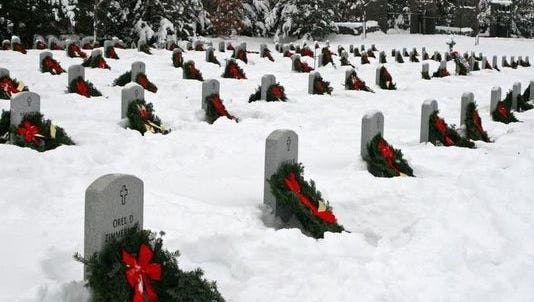 The annual Wreaths for the Fallen event takes place Dec. 12. This photo shows the results of a previous ceremony.