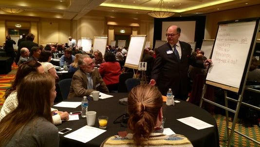 Paul Crombie facilitates a discussion at a Franklin Housing Summit early this year.
