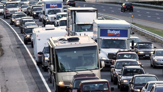 Traffic is backed up on the New York State Thruway in Harriman, N.Y., on Sept. 18, 2010, due to a fatal crash on the northbound side of Interstate 87 in Woodbury.
