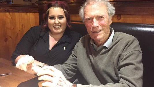 In lieu of her tip Kirsty Ramirez asked Clint Eastwood to have her picture taken with him while he was having dinner at Johnny Carino's Italian restaurant in Alamogordo Tuesday evening. Eastwood was at Holloman Air Force Base filming scenes for an upcoming movie.
