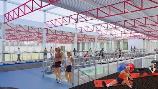 File rendering of the planned fitness center in the JCC expansion, to open in 2016.