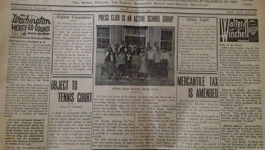 The front page of The Public Press from 1945.