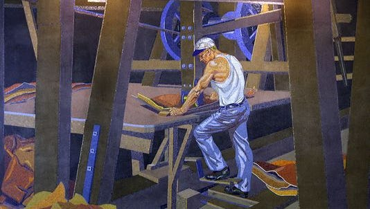 Artist Winold Reiss' mosaic mural of worker John A. Hentz at American Oak Leather, which hangs in the gate area of the closed Terminal 2 at the Cincinnati/Northern Kentucky International Airport.