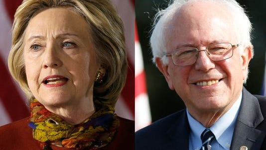 Former Secretary of State Hillary Clinton, left, and Sen. Bernie Sanders, I-Vt.