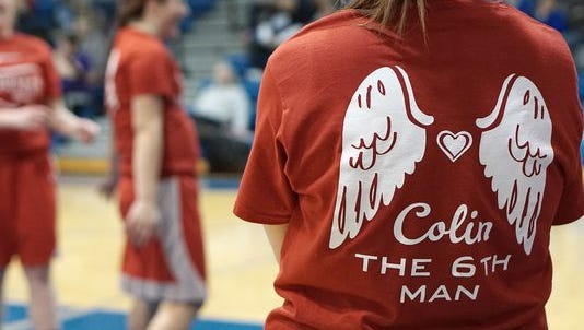 The Buckettes wore shirts honoring Colin before playing Wynford the Saturday after his death.