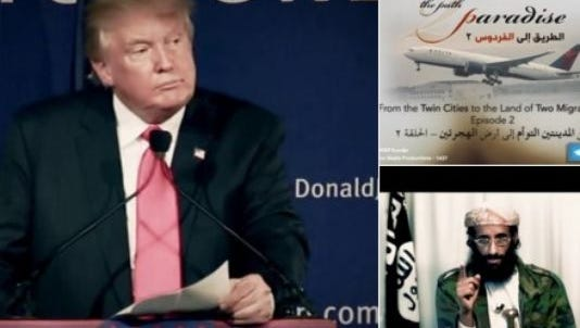 A recruitment video purportedly from the al-Qaeda-linked group al-Shabab includes a clip of GOP presidential candidate Donald Trump's remarks on a ban on Muslims traveling to the U.S., according to the terrorism monitoring group SITE.