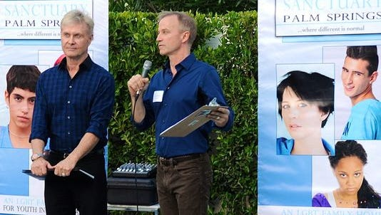 Sanctuary Palm Springs founders LD Thompson (left) and David Rothmiller address attendees at an event bringing awareness to the proposed program and facility.