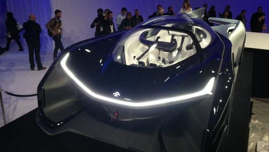 Faraday Future unveiling a striking if impractical 1,000-hp electric car, one of many connected car events at the 2016 CES.