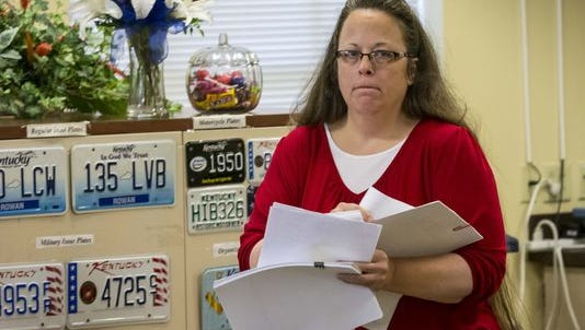 Rowan County Clerk Kim Davis was back to work in her office Monday morning at the Rowan County Courthouse in Morehead on Sept. 14, 2015.