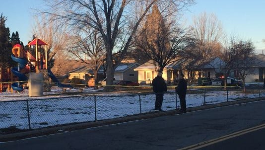 Police block off the area around Pat Baker Park after a 16-year-old boy was shot following a fight in December.