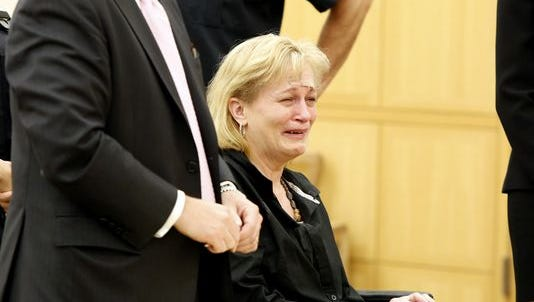 Kathy Dymes in Westchester County Court at her arraignment in September on criminally negligent homicide in the death of her daughter at their home in Croton-on-Hudson.