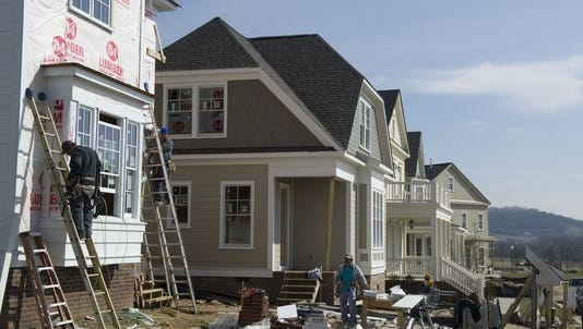 Homes under constructions at Berry Farms in Franklin.