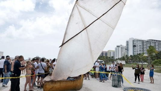 Cubans reportedly arrived on this raft found in South Beach, Fla., on Sept. 15, 2015.