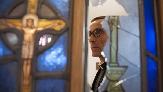 Rev. Joseph Capella said several hand-painted stained glass windows were damaged by a vandal earlier this month. A Cherry Hill philanthropist has offered a donation toward repairs and a reward for information leading to an arrest in the crime.