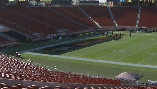 Denver Broncos end zone painted at Levi's stadium