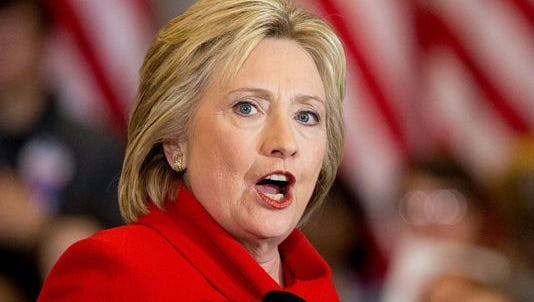Democratic presidential candidate Hillary Clinton chimed in Tuesday on recent reports of lead found in Jackson water. Here, she speaks Monday at her caucus night rally at Drake University in Des Moines, Iowa.