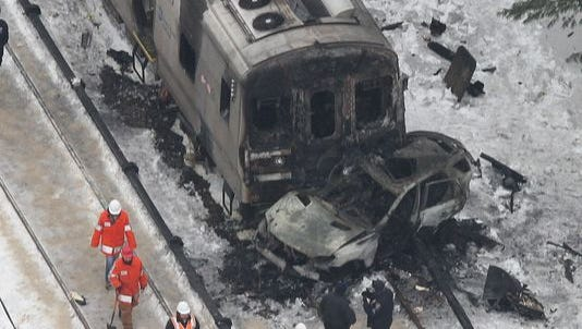 Aerial views of the Feb. 3, 2015 Metro North train accident at the Commerce Street crossing in Valhalla, taken the day after the accident.